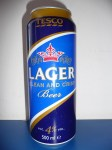 Tesco Lager clean and crisp beer